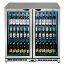 Lec LED Bottle Cooler 2 Sliding Doors Black