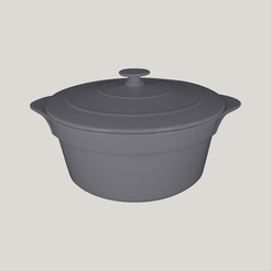 Chef's Fusion Round Cocotte & Lid Grey 28cm