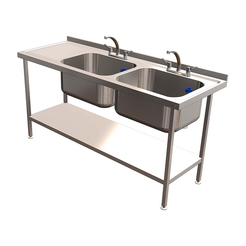 Quick Service Double Bowl Sink w.LH Drain 1800x650mm