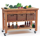 Three Drawer Beechwood Trolley With Baskets