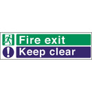 Safety Sign Fire Exit Keep Clear