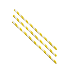 Paper Straws Yellow and White Stripes 20cm