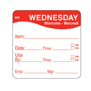 Daymark label Wednesday Removable Square 5.1cm