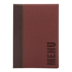 Trendy Leather Style A4 Menu Holder Wine Red