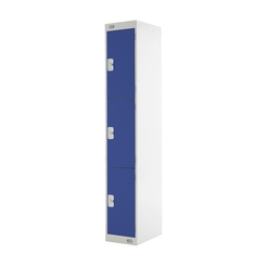 Express Steel Locker - Grey with 3 Blue Doors 300mm