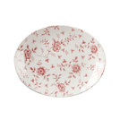 Vintage Print Cranberry Rose Chintz Oval Plate