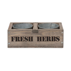 Wooden Herb Box With Two Galvanised Herb Pots