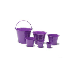Mid Purple Metal Bucket 18cm Dia x 15cm H