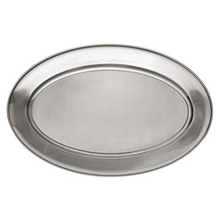Meat Flat Stainless Steel Oval 22 x 35cm