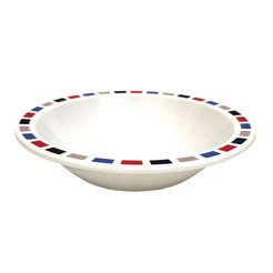 Rectangles 17.3cm Bowl - Red, Blue & Grey