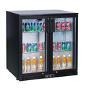 Bottle Cooler - Black Finish with 2 Hinged Doors