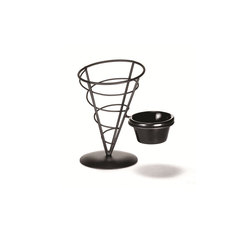 Appetiser Cone With Ramekin 5 inch x 7 inch Black