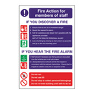 Safety Sign Fire Action Staff Signs