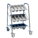 Cutlery Trolley 2 Containers - Black Frame