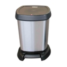 Stylish Plastic Design Bin, Metallic Silver Effect