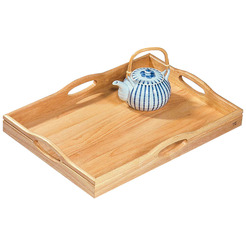 Handled Butlers Tray Hevea Wood Oblong 50x36cm