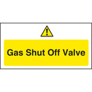 Warning Sign Gas Shut Off Valve