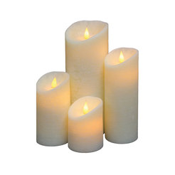 4.5inch Slanted Wave Rim Frosted 3D LED Candle Ivory