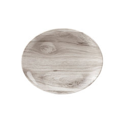 Textured Prints Sepia Wood Oval Bowl 25.5cm