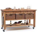 Four Drawer Beechwood Trolley With Baskets