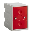 1 Door Plastic Locker Grey with Red Door