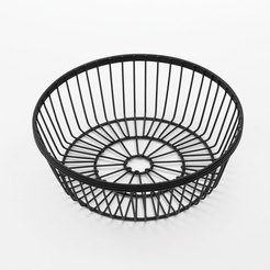 Round Wire Basket Black 8x2-3/4 Inch