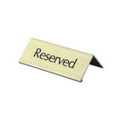 Table Sign Reserved Black Lettering On Gold