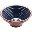 ABS Terracotta 28cm Ribbed Bowl (Blue w/Cream Swirl)