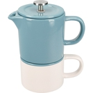 Coffee For One Retro Blue Mug 250ml & Cafetiere 400ml