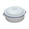 White Enamel Round Roaster With Lid 26 x 7cm