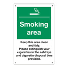 Exterior Sign Smoking Area, Keep Clean & Tidy