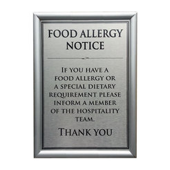 Allergen Wall Sign Dietary Requirements A4