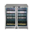 Lec LED Bottle Cooler Double Door Silver