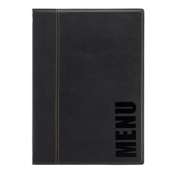 Trendy Leather Style A4 Menu Holder Black