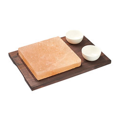 Square Salt Plate With Wood Base 2 Bowls 20cm