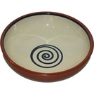 ABS Terracotta 17cm Bowl Cream with Blue Swirl